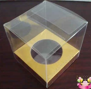 Single Cupcake Box Transparent with Gold Insert